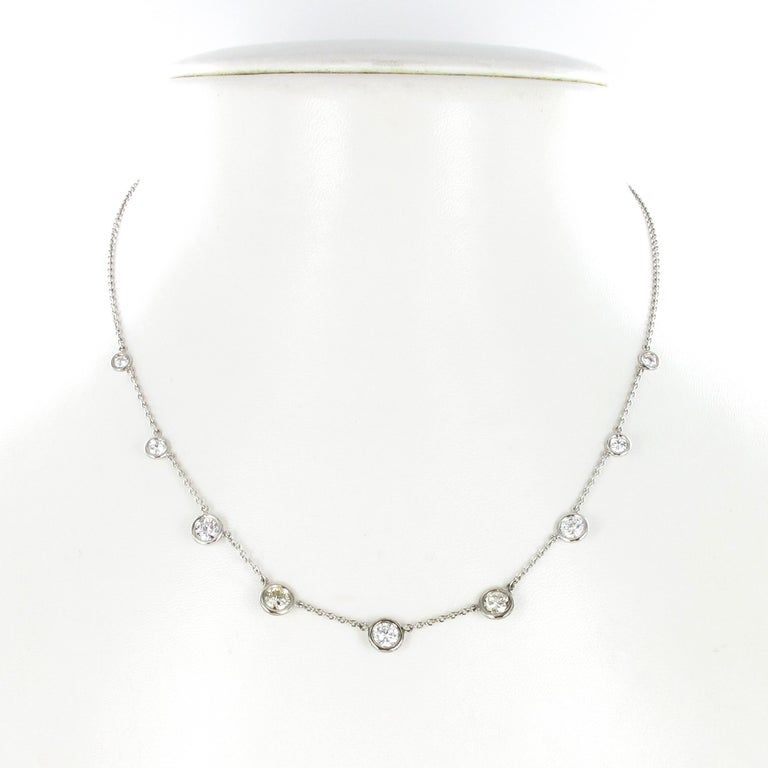 Brilliant Cut Classic Diamond Necklace in 18 Karat White Gold For Sale