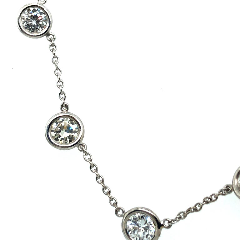 Women's or Men's Classic Diamond Necklace in 18 Karat White Gold For Sale