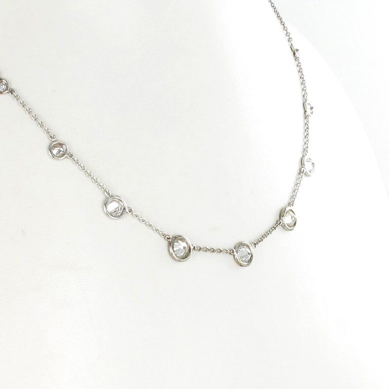 Classic Diamond Necklace in 18 Karat White Gold For Sale 3