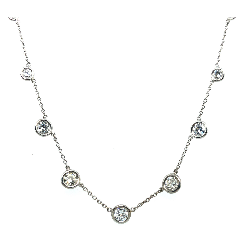 Classic Diamond Necklace in 18 Karat White Gold