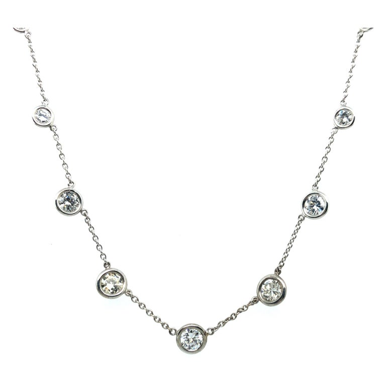 Classic Diamond Necklace in 18 Karat White Gold For Sale