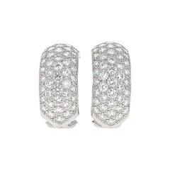 Classic Diamond Pavé and 18 Karat Gold Half-Hoop Earclips