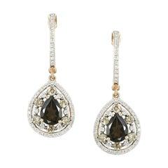 Classic Diamond Quartz Yellow Gold Earrings