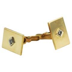Classic Diamond Solitaire Studs 14 Karat Yellow Gold Men's Cufflinks