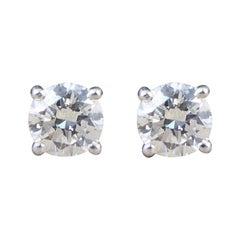 Classic Diamond Stud Earrings 0.68 Carat Total in 18 Carat White Gold