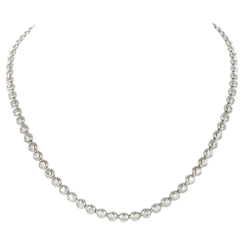Classic Diamond Tennis White Gold Necklace