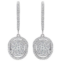 Classic Diamond White Gold Dangle Earrings