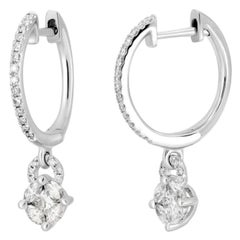 Classic Diamond White Gold Statement Dangle Original Hoop Earrings for Her