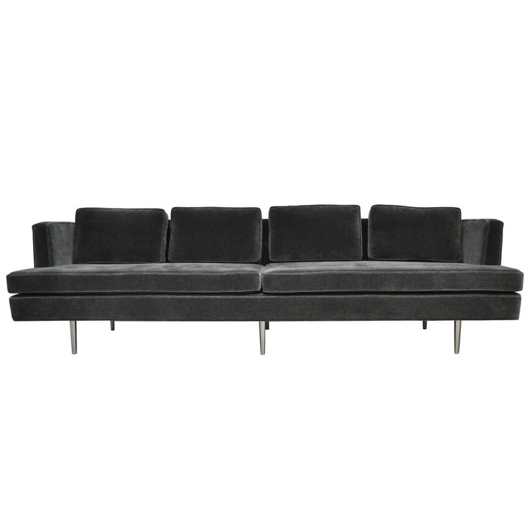 Classic Dunbar Sofa by Edward Wormley in Charcoal Mohair For Sale