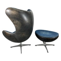 Classic Egg Chair and Ottoman, Black Leather and Denim, After Arne Jacobsen