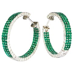 """Classic Emerald and Diamond """"Hoop"""" Earrings in White Gold"""