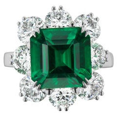 Classic Emerald And Diamond Ring In Platinum By RayazTakat