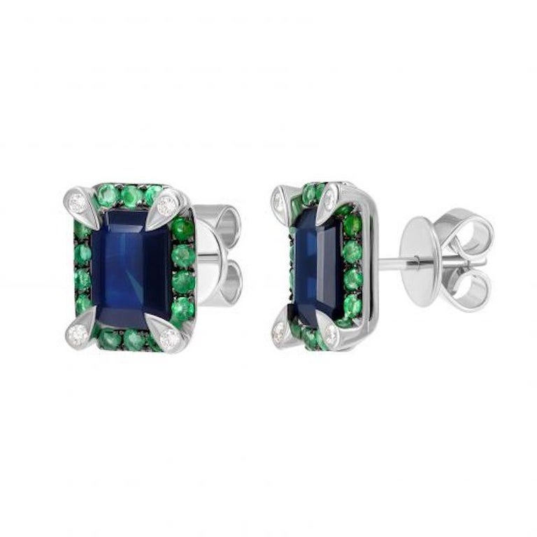 Modern Classic Emerald Blue Sapphire White Diamond White Gold Earrings for Her For Sale