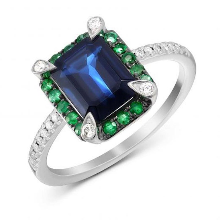 Round Cut Classic Emerald Blue Sapphire White Diamond White Gold Earrings for Her For Sale