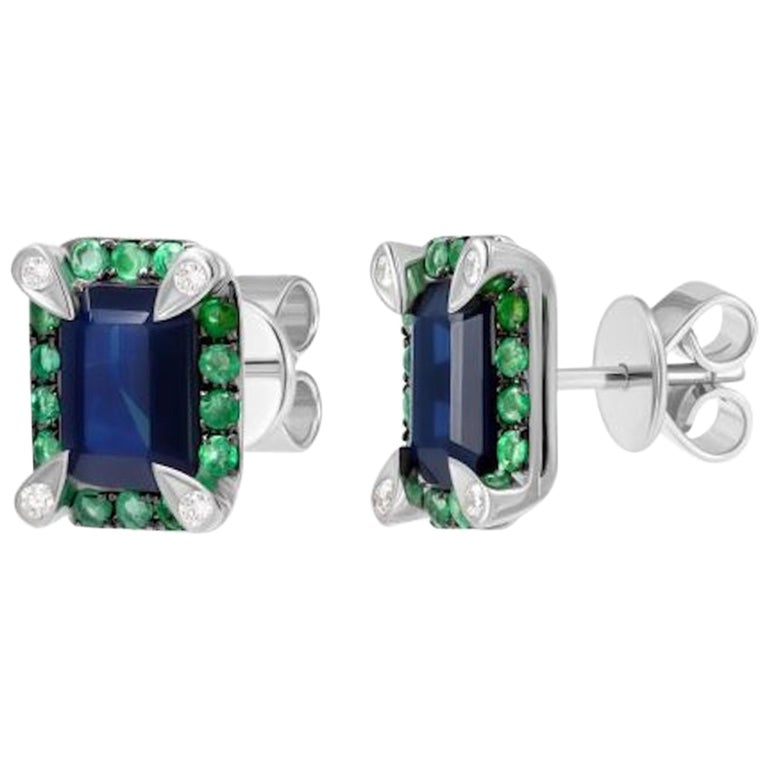 Classic Emerald Blue Sapphire White Diamond White Gold Earrings for Her For Sale