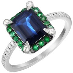 Classic Emerald Blue Sapphire White Diamond White Gold Ring for Her