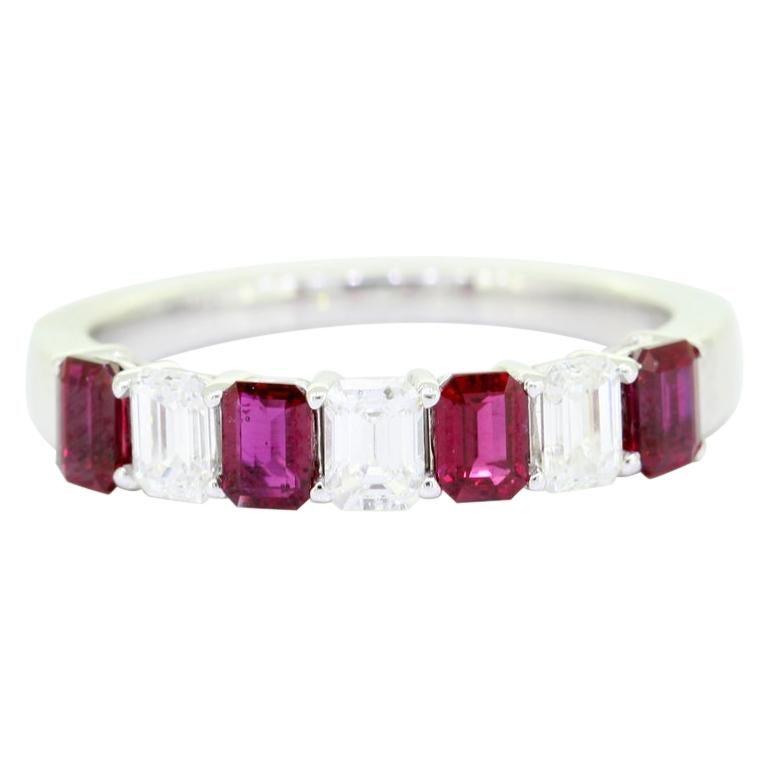 Classic Emerald Cut 1.50 Carat Seven Stone Ruby Diamond Ring 18 Karat White Gold