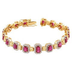 Classic Emerald Cut Ruby Tennis Bracelet with Diamonds in 18K Yellow Gold