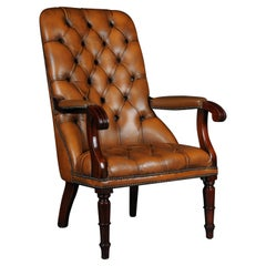 Classic English Chesterfield Armchair, Leather Cognac