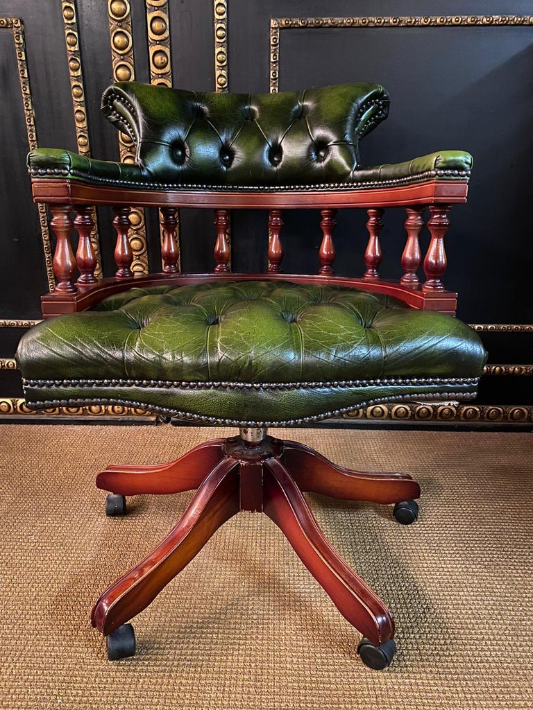Leather Classic English Chesterfield Captains Office Chair Swivel and Tilt on Castors For Sale
