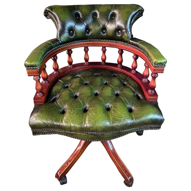 Classic English Chesterfield Captains Office Chair Swivel and Tilt on Castors For Sale