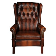 Classic English Chesterfield Club Chair / Wingback Chair, Adjustable