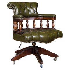 Classic English Chesterfield Office Chair Swivel and Tilt on Castors