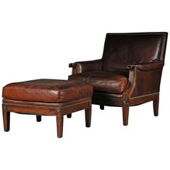Classic English Club Chair with Footstool, Leather