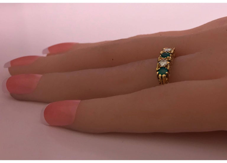 Classic English Diamond Emerald Carved Gold Ring For Sale 2