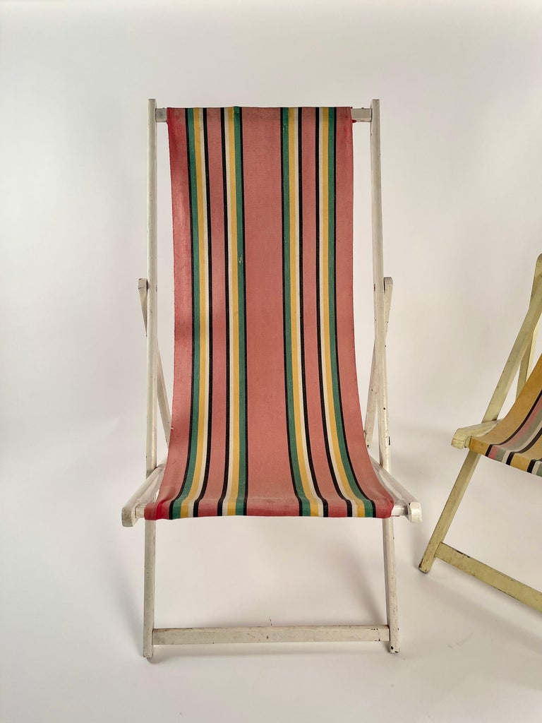 Classic English Striped Canvas Outdoor Folding Garden or Beach Chairs Set of 2 For Sale 4