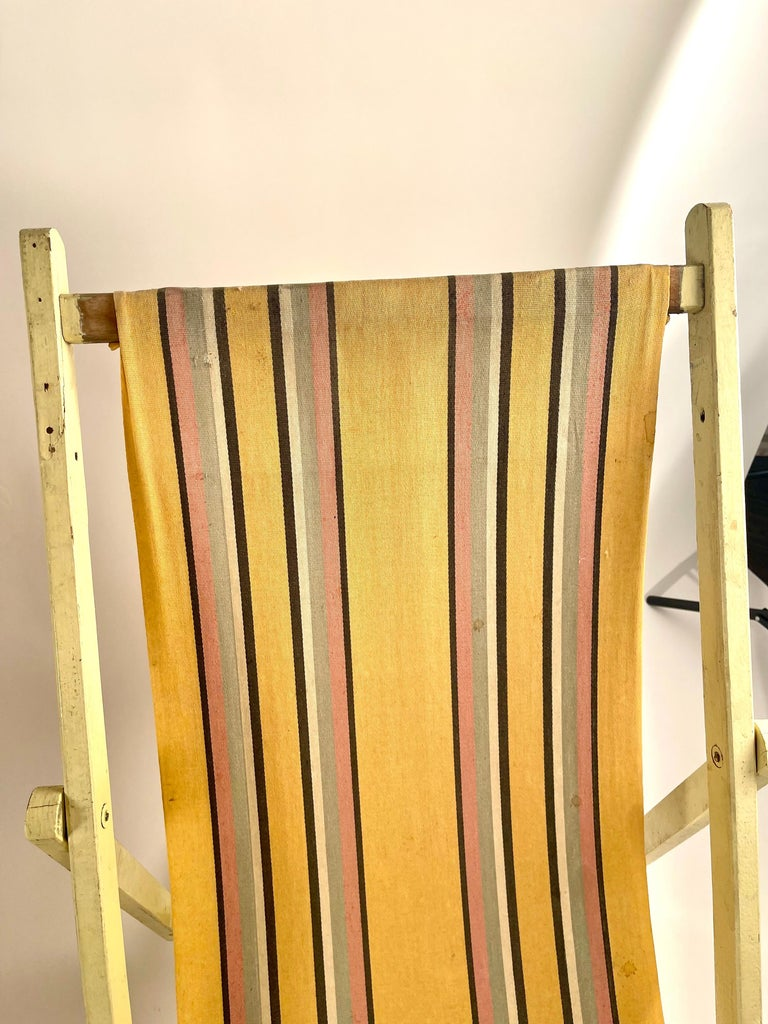 British Classic English Striped Canvas Outdoor Folding Garden or Beach Chairs Set of 2 For Sale