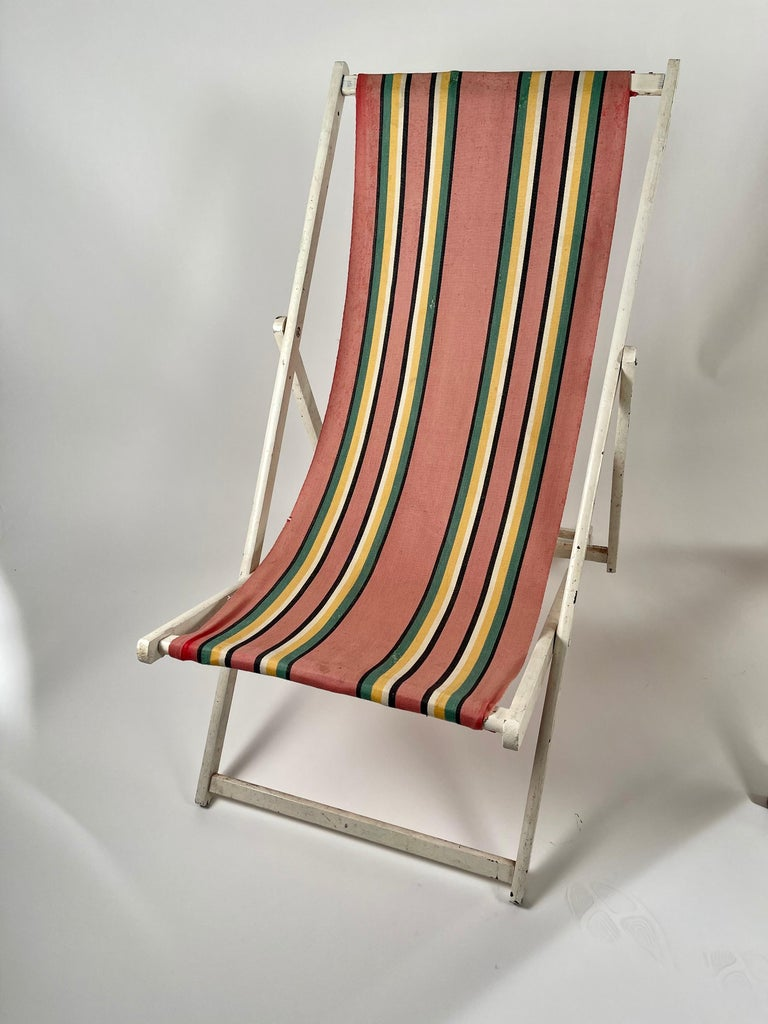 Classic English Striped Canvas Outdoor Folding Garden or Beach Chairs Set of 2 For Sale 3