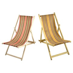 Classic English Striped Canvas Outdoor Folding Garden or Beach Chairs Set of 2
