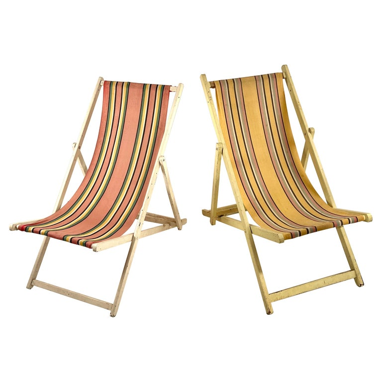 Classic English Striped Canvas Outdoor Folding Garden or Beach Chairs Set of 2 For Sale
