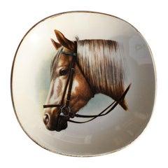 Classic Equestrian Style Ceramic Horse Vide-Poche Decorative Trinket Dish