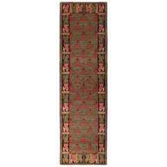 Classic European-Style Runner Green Red Custom Rug Pattern by Rug & Kilim