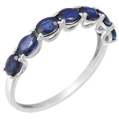 Classic Fancy Blue Sapphire White Gold Ring