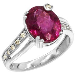 Classic Fancy Tourmaline Diamond White Gold Ring