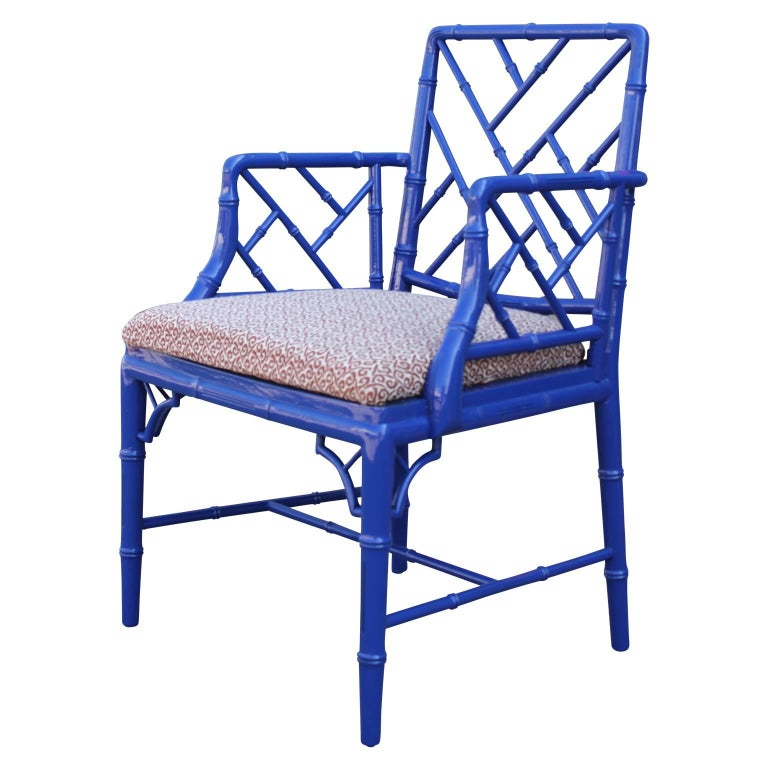 Classic Faux Bamboo Chinese Chippendale Blue Lacquer Armchair