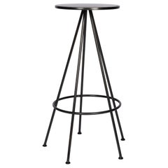 Urban Industrial Five Leg Round Bar Stool Backless Metal Seat Blackened Finish