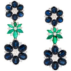 Classic Floral Drop Earrings, Set with 33.16 Ct Sapphires, Emeralds and Diamonds