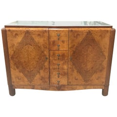 Classic French Art Deco Exotic Burl Walnut Sideboard /Buffet Art Glass Top