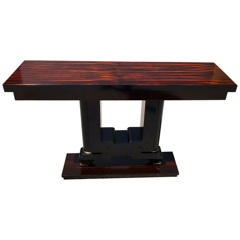 Classic French Art Deco Exotic Macassar Console Table, 1940s For Sale