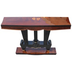 Classic French Art Deco Exotic Macassar Ebony Console Tables, circa 1940s