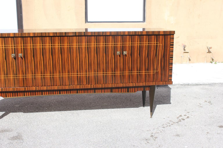 Classic French Art Deco Exotic Macassar Ebony Sideboard / Buffet / Bar 1940s For Sale 8