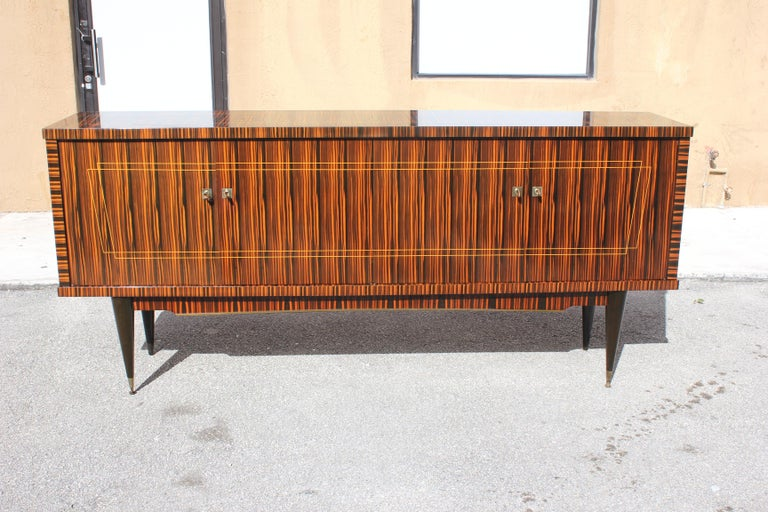 Classic French Art Deco Exotic Macassar Ebony Sideboard / Buffet / Bar 1940s For Sale 13