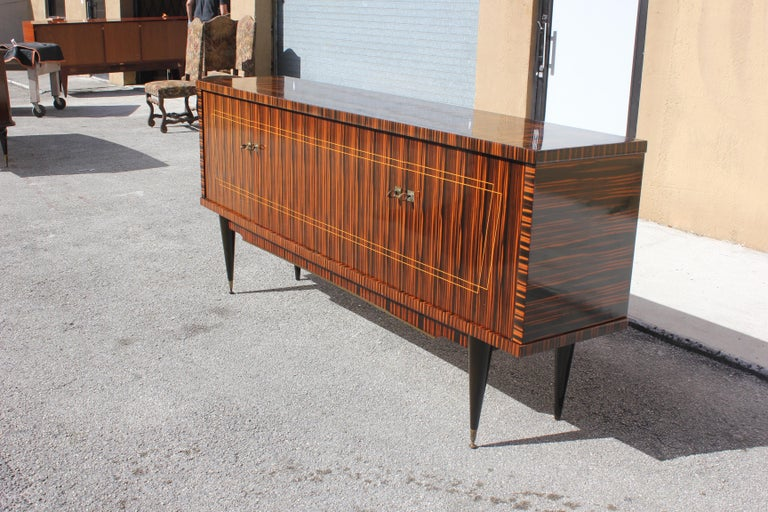 Brass Classic French Art Deco Exotic Macassar Ebony Sideboard / Buffet / Bar 1940s For Sale