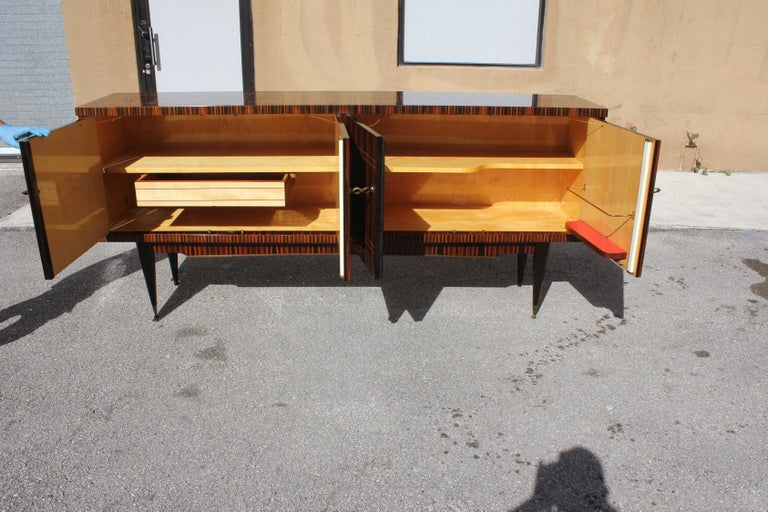 Classic French Art Deco Exotic Macassar Ebony Sideboard / Buffet / Bar 1940s For Sale 3