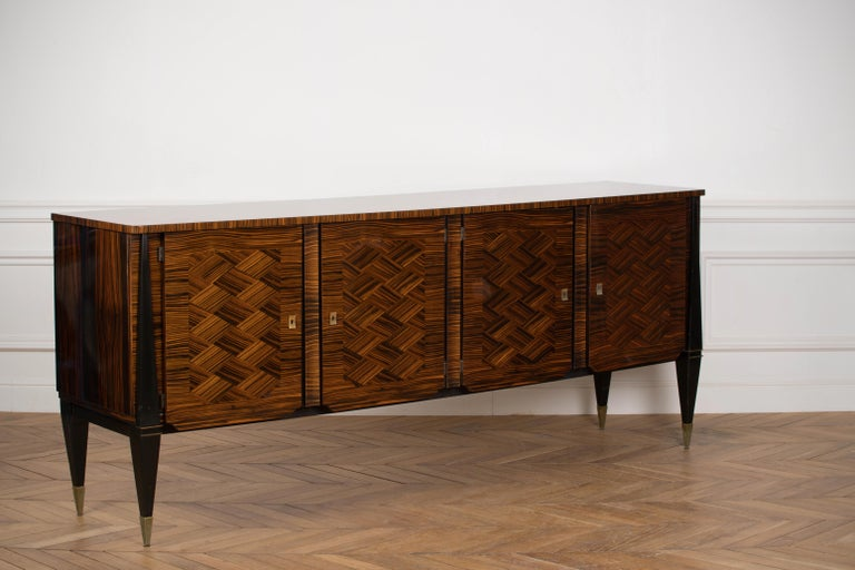 Classic French Art Deco Macassar Ebony Sideboard or Buffet In Good Condition For Sale In Asnières-sur-Seine, France