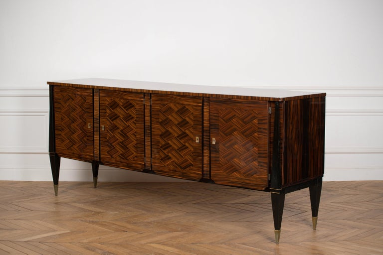 Mid-20th Century Classic French Art Deco Macassar Ebony Sideboard or Buffet For Sale
